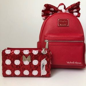 Disney loungefly Minnie Mouse backpack and wallet